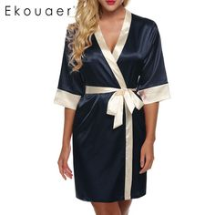 Available Now on our store:  Women's Kimono Ro... Check it out here ! http://mamirsexpress.com/products/womens-kimono-robe-knee-length-bathrobe-sexy-lingerie-sleepwear-short-satin-lace-nightwear-bridesmaid-robes-xs-xl?utm_campaign=social_autopilot&utm_source=pin&utm_medium=pin