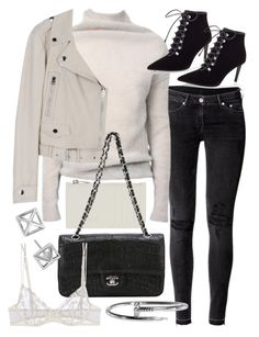 """""""Untitled #20278"""" by florencia95 ❤ liked on Polyvore featuring H&M, Rick Owens, Balenciaga, Yves Saint Laurent, Chanel, La Perla and Rebecca Minkoff"""