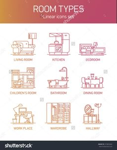Interior Design Icons. Room Types And Home Interior Linear Icons   Thin Line Contour Illustrations On Living Room, Kitchen, Bathroom, Kids' Room, Dining, Bedroom, Workspace And More - 373855942 : Shutterstock