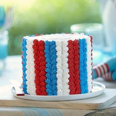 July Fourth Cake: Use a simple piping technique to add decorative columns of icing shells that give this cake some stately appeal.