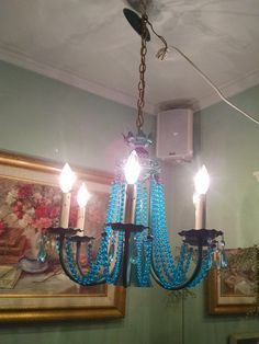 Light fixture, hanging chandelier, MCM, Retro, turquoise beads, chandelier, lamp, light, turquoise, fixture, dripping candles by Vintagepetalpushers on Etsy Hanging Chandelier, Hanging Light Fixtures, Hanging Lights, Hanging Crystals, Vintage Lighting, Vintage Home Decor, Candlesticks, Clear Glass, Turquoise