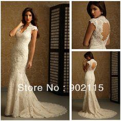 2012 New Design Halter Sheath Custom Made Champagne Wedding Dress Lace Sheath Cap Sleeves