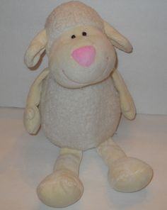 "Cream Sherpa Lamb Sheep Plush Stuffed Animal 13"" Best Made Toys Pink Nose 2012 #BestMadeToys"