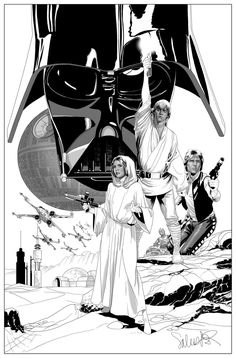 Star Wars - Darth Vader, Princess Leia, Luke Skywalker, and Han Solo by Salvador Larroca