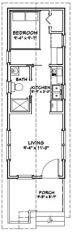 16X32 Tiny House -- 511 Sq Ft -- Pdf Floor Plan -- Model 1W | Tiny