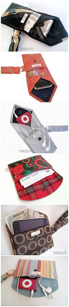 A tie used as a storage idea for your smartphone, an iPod, a wallet or a camera case.