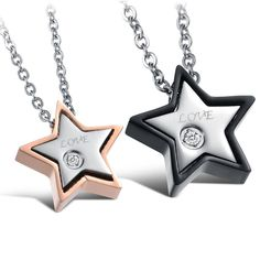 Valentine's Day Gift Couple Jewelry Five Star Pendent Necklace stainless Steel For Women Man Jewelry Not Fade - FASHION BookFace - Leading Global Online Shopping Site Ruby Necklace, Necklace Online, Star Necklace, Men Necklace, Pendant Necklace, Promise Necklace, Couple Necklaces, Couple Jewelry, Stars