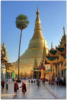 Shwedagon es un complejo religioso situado en Yangon, antigua capital de Birmania. Está presidido por la magnífica estupa Shwedagon Paya rodeada de templos. La estupa tiene 100 m de altura y está cubierta con un baño de oro. GENIAL