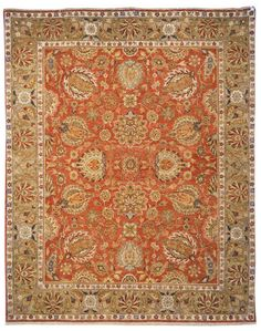 OW117A Rug from Old World collection.  Inspired by 19th Century Agra designs, the Old World Collection is made with a special hand-spun heathered yarn, giving its pile an aged character. These r