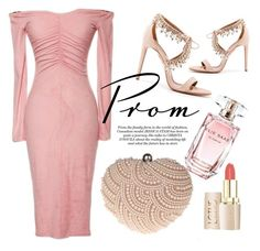 """""""Sweetheart"""" by luvsassyselfie ❤ liked on Polyvore featuring Aquazzura, Elie Saab, Glam Cham, Pink, rose and promdoover"""