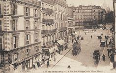 La rue des Martyrs au niveau de la rue Victor-Massé, vers 1900  (Paris 9ème/18ème)