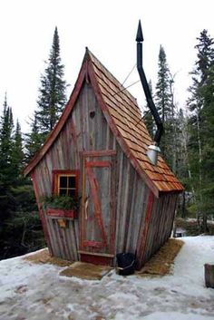 "Whimsical rustic sauna created of reclaimed wood by Dan Pauly of ""The Rustic Way."" garden shed playhouse play house"