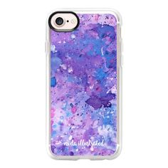 Purple and Blue Liquid Art Watercolor by Moda Illustrated - iPhone 7... ($40) ❤ liked on Polyvore featuring accessories, tech accessories and iphone case