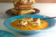 Roasted Vegetable and Tomato Soup with Grilled Cheese and Caramelized Onion Croutons - It's easy to get the kids to eat their veggies when there are grilled cheese croutons on top!