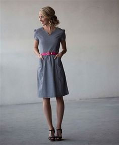 Super cute. Love the neckline and that it has pockets. Great silhouette.