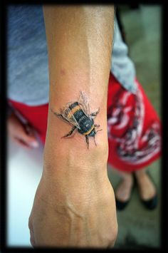 Color Realism Portraiture Bumblebee Top of Wrist Tattoo Design_tattoo gallery. DH would like this one.