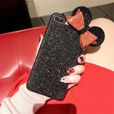 Luxury Shine Bling Minnie Mouse Ear Case For iPhone 6 7 8 Plus Phone Cover Bling Phone Cases, Diy Phone Case, Iphone Cases Disney, Iphone 7, Apple Iphone, Cute Wallpaper For Phone, Cell Phone Accessories, Phone Covers, Minnie Mouse