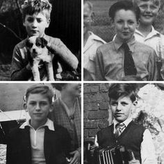 The Beatles when they were kids From Top left to bottom right: John Lennon, Paul McCartney, George Harrison, Ringo Starr Foto Beatles, Beatles Love, Les Beatles, Beatles Art, George Harrison, Paul Mccartney, John Lennon, Great Bands, Cool Bands