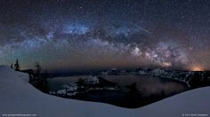 Meteor Shower. Crater Lake, Oregon.