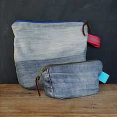 Täschchen aus alter Jeans / Zippered pouches made from old pair of jeans / Upcycling