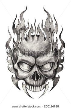 Skull tattoo .Hand drawing on paper.