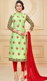 Green Color Embroidered Chanderi Cotton Churidar Suit #churidaaronline #netchuridardresses Make others envy you with this green color embroidered chanderi cotton churidar suit. The ethnic lace, resham and stones work on the attire adds a sign of splendor statement with a look.  USD $ 67 (Around £ 46 & Euro 51)