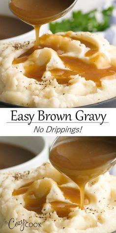 Cheesy Recipes, Easy Chicken Recipes, Beef Recipes, Cooking Recipes, Sauce Recipes, Brown Gravy Recipe Easy, Easy Gravy Recipe Without Drippings, Delicious Gravy Recipe, Sauces
