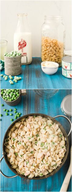 This lightened up tuna pasta recipe is creamy and delicious without the guilt! Plus it uses one skillet so clean up is a breeze. via @diy_candy