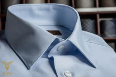 Sky Blue Plain Broadcloath Dress Shirt With Classic Collar And Double Button Bevelled Cuffs
