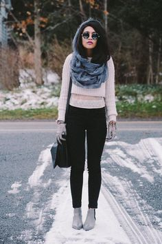 Shop this look on Kaleidoscope (sweater, scarf, sunglasses, jeans, bootie) http://kalei.do/XF3MWInUrie8DxEq