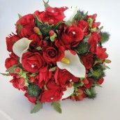 Simply beautiful and great for a Christmas Wedding. Red Rose & Calla Lily Bridal Bouquet