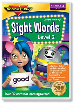 Sight Words Level 2 (DVD) covers all of the primer Dolch words and many words from Fry's list. Sight words are taught in isolation and in context for meaning. Humorous characters and catchy songs get results. Kindergarten & up. Rock N Learn Sight Words Video / Kindergarten Sight Words / Homeschool material / Homeschooling material / Home School / http://www.rocknlearn.com/collections/phonics-reading/products/rl212