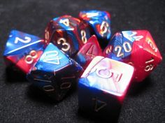 FRP GAMES - PRODUCT - Chessex RPG Dice Sets: Blue-Red/Gold Gemini Polyhedral 7-Die Set Cool Fidget Toys, Tabletop Games, Vintage Colors, Dungeons And Dragons, Red Gold, Gemini, Decir No, Board Games, Rpg