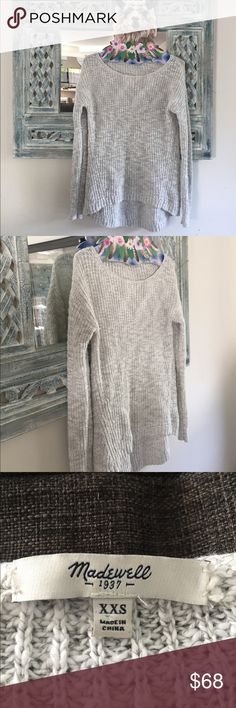 Madewell Grey cotton sweater: xxs Light weight, light grey beautiful sweater. Size xxs, Madewell's sizes are little different. I am normally an XS but an xxs in Madewell. I love this sweater, only wore this once over a Free People slip.. It looked really pretty but then I received another just like it as a gift. Madewell Sweaters