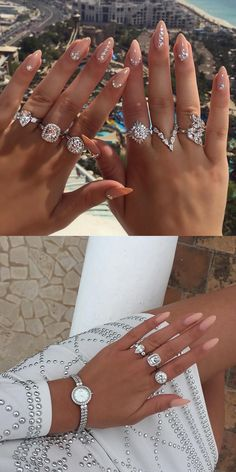 Details #white #silver #details #nails #rings #nudenails #fashionnova #dress