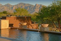 This poolside space with mountain views was completed by Pools by Design. #luxeAZ