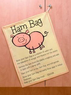 Cute Ham Bag from Lorraine Lea Linen, YUMMM! Sewing Crafts, Sewing Projects, Lorraine, Reuse, Fork, Ham, Cooking, Christmas, Cucina