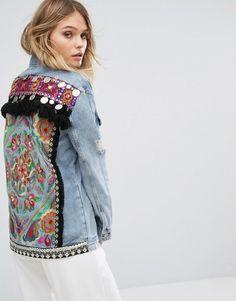 River Island Embroidered Back Denim Jacket Detail Jacket Style Kurti, Jean Diy, Bohemian Mode, Denim Ideas, Jeans Fabric, Embroidered Jacket, Diy Fashion, Fashion Online, Couture