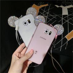 3D Mickey Ear Case Crystal Soft Transparent cases For Samsung Galaxy Note3/4/5/A5/7/8/S4/S5/6/7/G360/J5/J7/G530/S6 edge/S7 edge