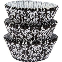 Black & White Damask Baking Cups 75ct - Party City