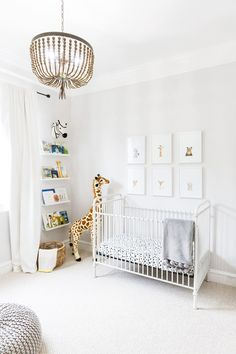 This is one of our favorite gender-neutral nurseries. Lots of white with a touch of safari influence, it's chic and playful at the same time!