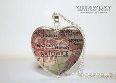 katowice Polen Karte Anhänger,Kette,Stadtplan,HERZ von KISS Knowledge Is So Sexy auf DaWanda.com