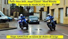 Daniel MORLEVAT - PARIS – NICE  2016 - images dans la traversée de MARCIGNY (71) - 09 mars 2016 6 course au soleil est neutralisée en raison de chutes de neige - (Daniel MORLEVAT) Daniel MORLEVAT - PARIS – NICE 2016 - images dans la traversée de MARCIGNY...