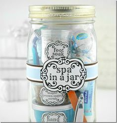 Spa In A Jar - imagine this filled with your favorite RF goodies as a hostess gift!! Love it!