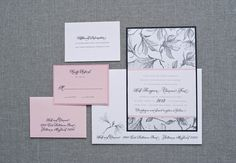 Black and Pink Garden Wedding Invitation Suite  by LamaWorks