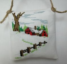 Winter Scene Cross Stitched  Ornament / by luvinstitchin4u on Etsy