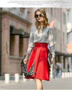 Of The New Korean High Waist Pleated Skirts Big Skirt A Word skirt Long Skirt Red