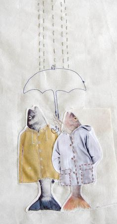 Annemoon Van Steen contemporary fabric collage fish in a raincoat cute quirky textile art picture Fish Collage, Collage Art, Collages, Textiles, Photocollage, Fish Art, Mix Media, Textile Artists, Altered Art