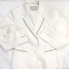 Banana Republic Blazer This blazer is fully lined and looks terrific with jeans. It has two small barely noticeable and hard to photograph. I will dry clean before shipping to try to remove the marks. Otherwise it is perfect. It is a cotton linen blend fabric. Banana Republic Jackets & Coats Blazers