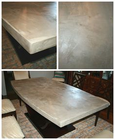 DIY Concrete Table Top: Chic and Durable. concreting over a wood top table